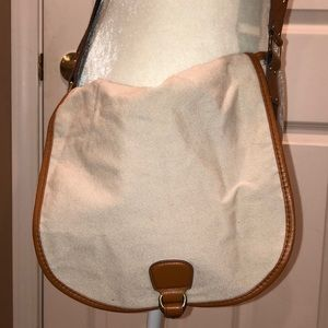 Cream canvas crossbody bag